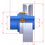 Elastic coupling with pulley brake :: UNE Acoflex AP Series