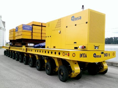 Self propelled modular trailer to transport radioactive containers DTA