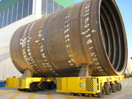 Synchronized SPMT to move ship part sections DTA