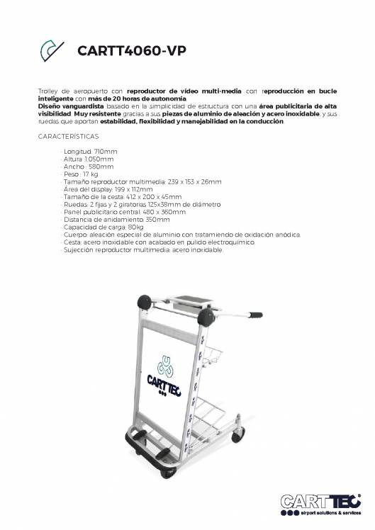 CARTTEC CARTT4060-VP. Carro portaequipaje para aeropuerto 1