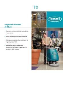 Catálogo TENNANT T2. Fregadora a baterías de conductor acompañante