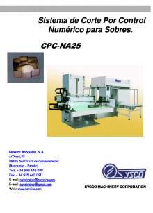CPC-NA25. Sistema de Corte Por Control Numérico para Sobres.