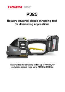 FROMM PH 329. Battery-powered strapping tool for plastic straps.