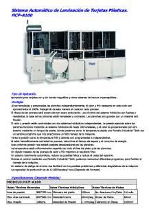 HCP-A100. Sistema Automático de Laminación de Tarjetas Plásticas.