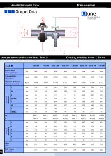 UNEFLEX Serie D. Flexible coupling for brake.